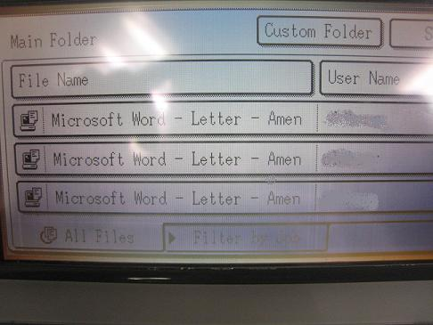 Printer queue with 'Amen' document names